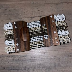 Beaded Wood Clasp Bracelet